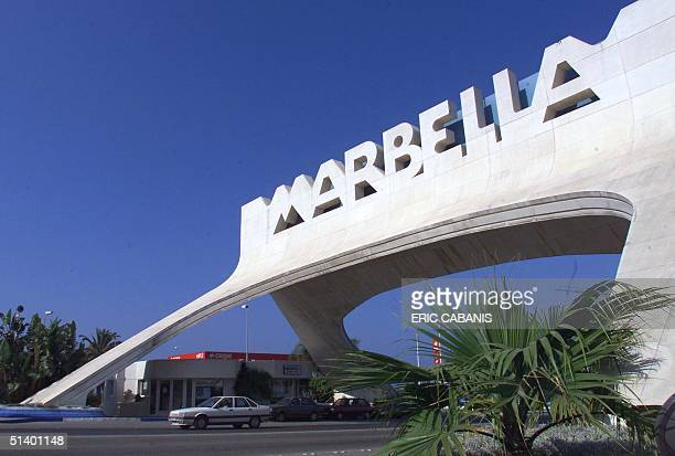 Picture dated 20 July 1999 shows the entrance to the city of Marbella the most famous Spanish Costa del Sol resort Hundreds of building sites by...