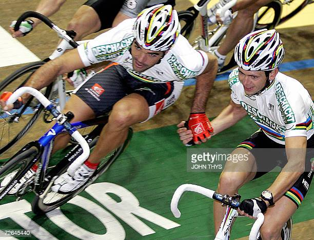 A picture dated 21 November shows Spanish cyclist Isaac Galvez in action during the Zesdaagse van GentVlaanderen indoor track cycling event Isaac...