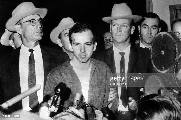 Picture dated 22 November 1963 of US President John F Kennedy's murderer Lee Harvey Oswald during a press conference after his arrest in Dallas Lee...