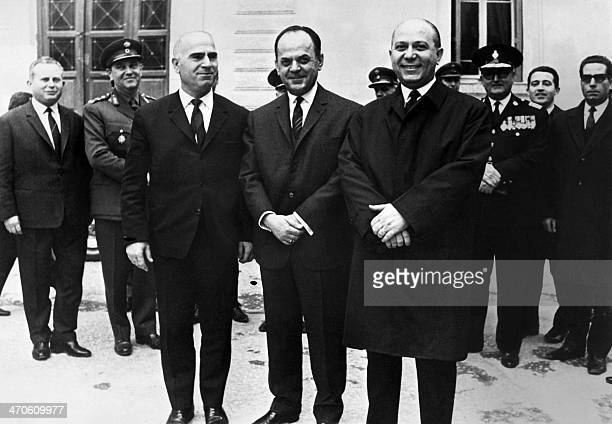 Picture dated 24 December 1967 of Greek Prime Minister Georgios Papadopoulos with deputy Prime Minister Stylianos Pattakos and coordination minister...