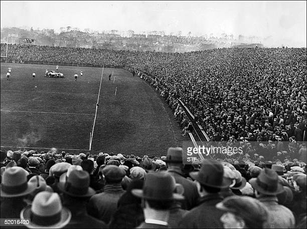 Picture dated 24 January 1931 of the crowd watching the Five Nations tournament match France vs Scotland at Murrayfield in Edinburgh