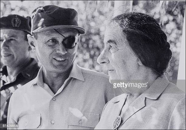 picture dated 26 July 1969 showing Israel former Prime Minister Golda Meir with Israeli General Moshe Dayan