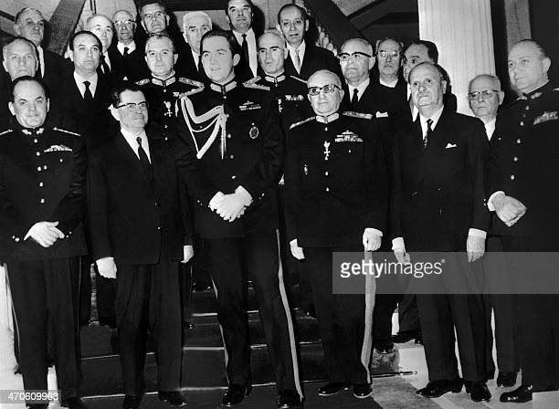 Picture dated 28 April 1967 of King Constantin II surrounded by the junta Government at the swearingin ceremony of the Dictators From L to R Georgios...