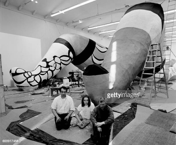 Picture dated 31 May 1966 of sculptress Niki de Saint-Phalle with fellow artists Jean Tinguely and Per Olof Ultvedt during the construction of their...