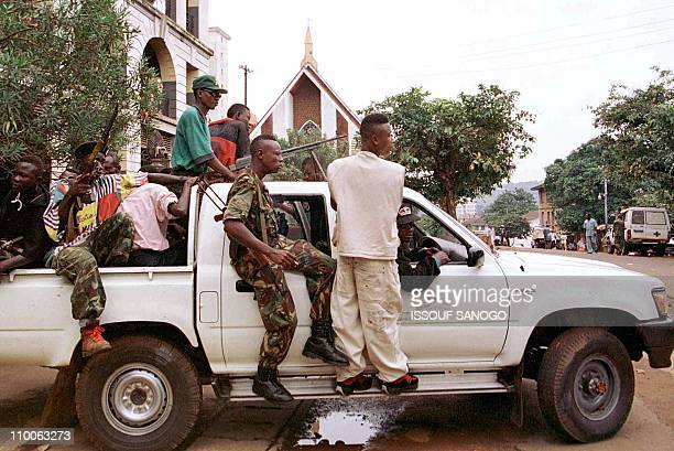 Picture dated December 1997 shows rebels from the military junta after the junta's coup in the Sierra Leone capital Freetown Sporadic sounds of heavy...