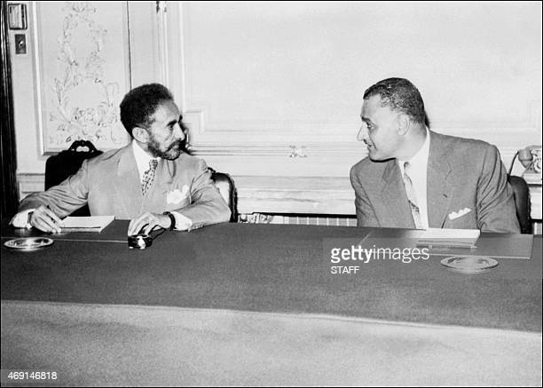 Picture dated from the 50s of Ethiopian Emperor Haile Sellassie I during a meeting with Egyptian President Gamal Abdel Nasser in Cairo After having...