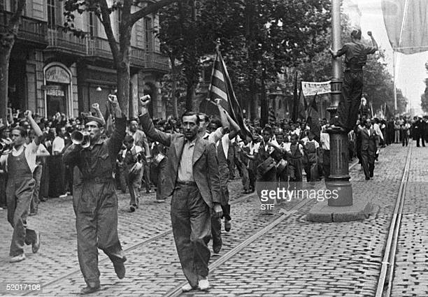 Picture dated July 1936 showing Republicans of leftist parties demonstrating in the streets of Barcelona against Franco's attempt to overthrow the...