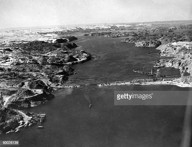 Picture dated May 1964 showing the site of the construction of the Aswan high dam on the Nile river in Egypt. The construction of the Aswan High Dam...