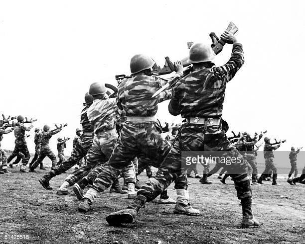 picture dated May 1967 shows Palestinian fedayeen training in camps in Lebanon Palestinians are planning massive marches of up to a million people...