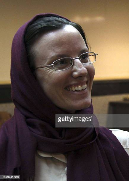 A picture dated September 14 2010 shows US hiker Sarah Shourd who was released on bail from Iranian prison earlier in the day waiting at Tehran's...
