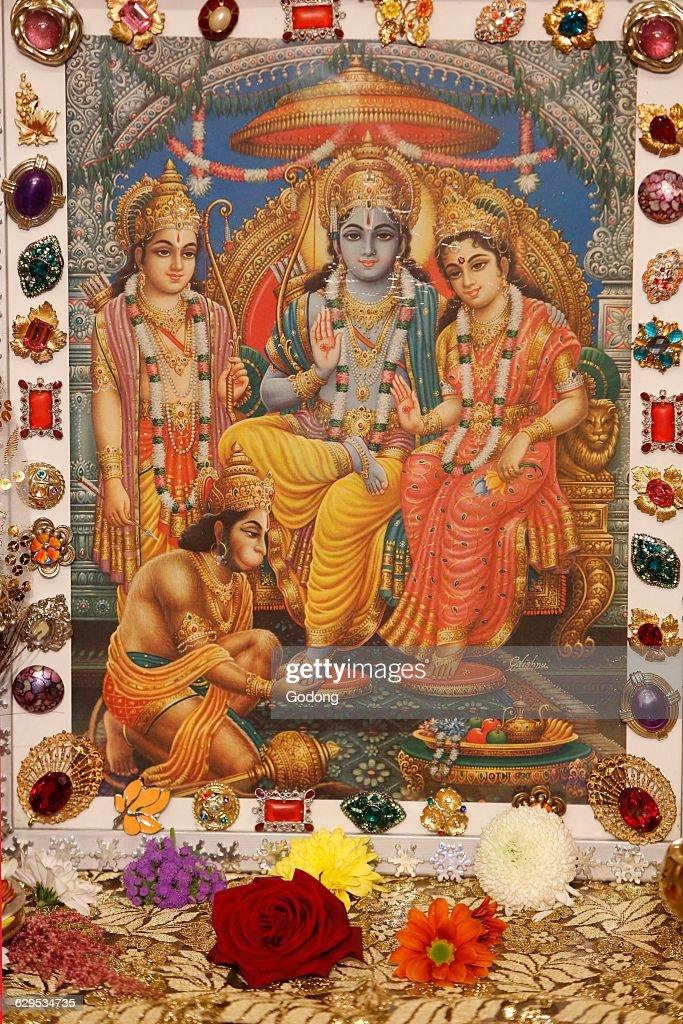 picture displayed in an iskcon temple hindu gods rama krishna