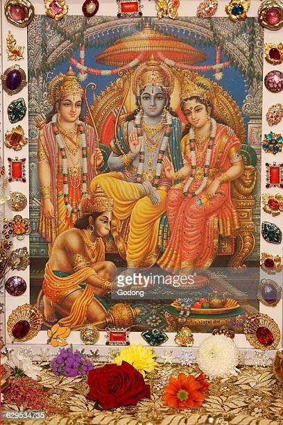 Picture displayed in an ISKCON temple Hindu gods Rama Krishna Radha and Hanuman
