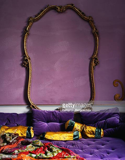 picture frame above tufted daybed - tassel stock pictures, royalty-free photos & images