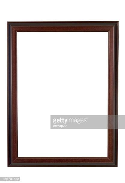 Picture Frame Brown and Red Wood, Narrow, White Isolated