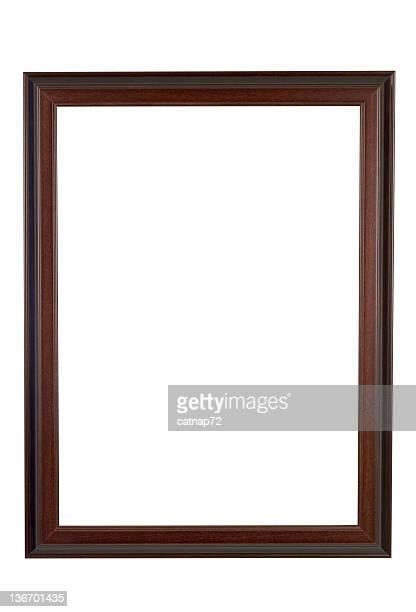 Cadre photo en bois brun et de rouge, étroit, isolé blanc