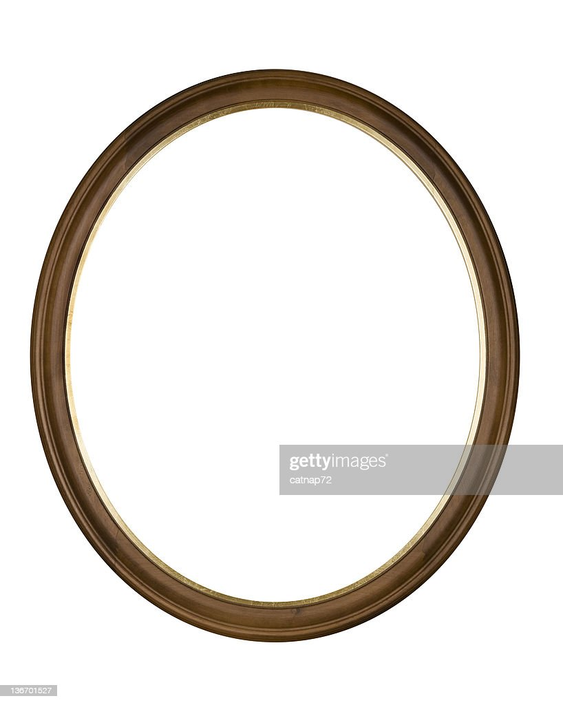 Picture Frame Brown Oval Circle, White Isolated Studio Shot : Stock Photo