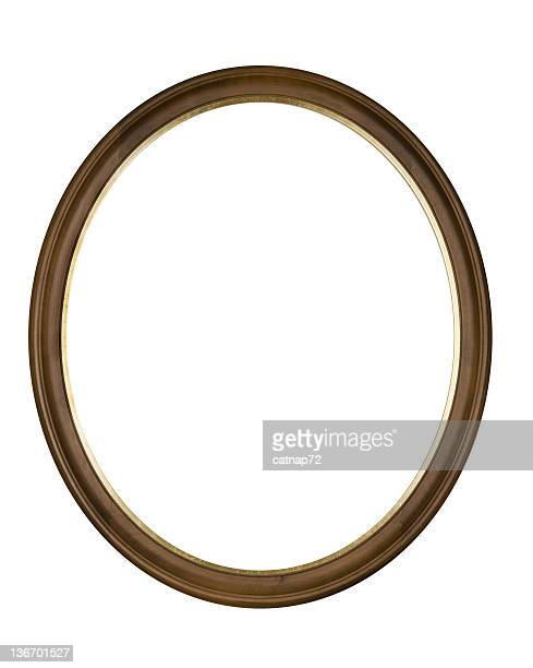 picture frame brown oval circle, white isolated studio shot - oval shaped objects stock pictures, royalty-free photos & images