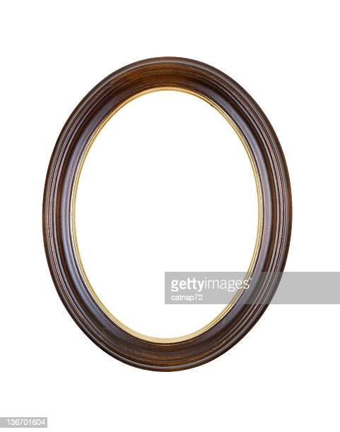 picture frame brown oval round, white isolated - oval shaped objects stock pictures, royalty-free photos & images
