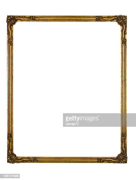 Picture Frame Gold Art Deco, White Isolated Design Element