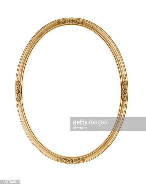 picture frame gold oval round, narrow, white isolated studio shot - frame stock pictures, royalty-free photos & images