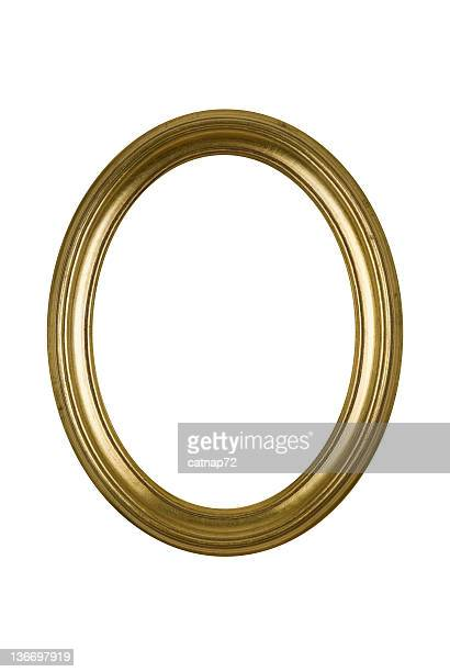 picture frame gold oval round, white isolated studio shot - oval shaped objects stock pictures, royalty-free photos & images