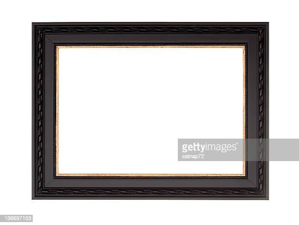 picture frame in black, modern contemprary style, white isolated - black border stock pictures, royalty-free photos & images