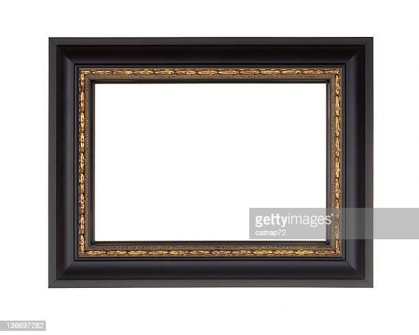フォトフレームに黒、モダンなゴールドのエッジ、ホワイトの絶縁 - 黒枠 ストックフォトと画像