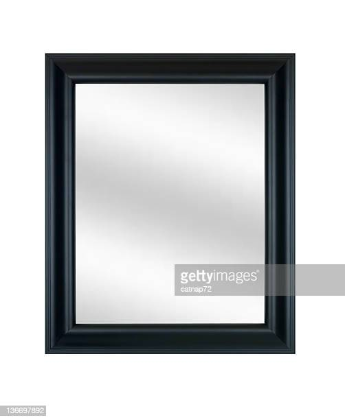 Picture Frame in Black with Mirror, White Isolated