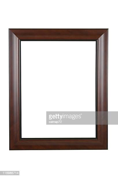 Picture Frame in Brown Modern Satin Finish, White Isolated