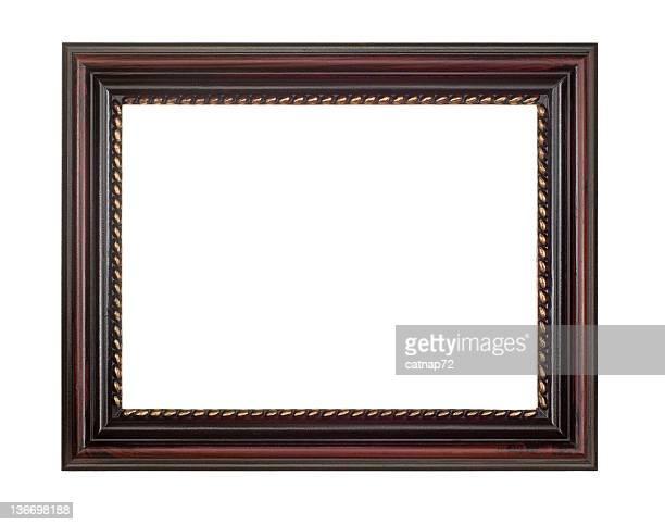 額縁ブラウンの赤、白で分離 - 黒枠 ストックフォトと画像