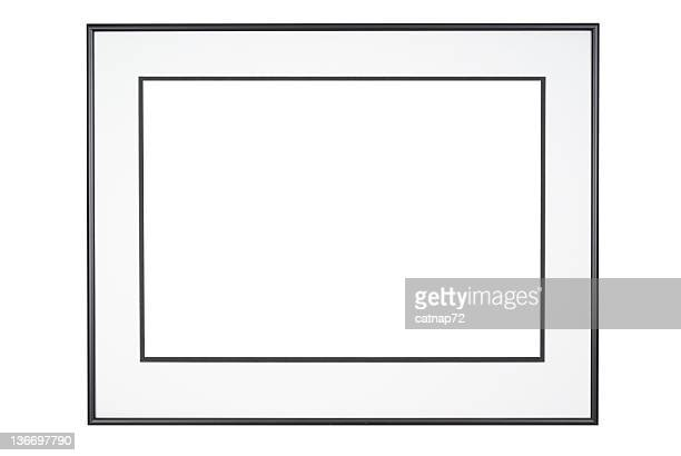 picture frame in classic black and white, isolated - black border stock pictures, royalty-free photos & images