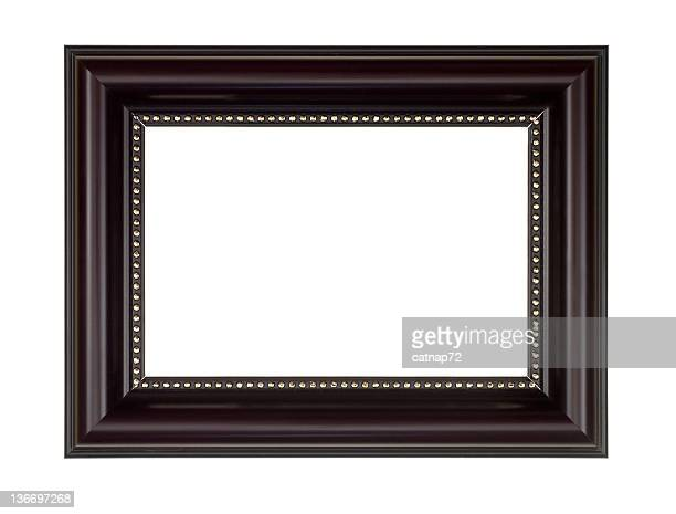 Picture Frame in Dark Brown, White Isolated