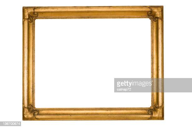 Picture Frame in Gold Grunge, Worn Weathered, White Isolated
