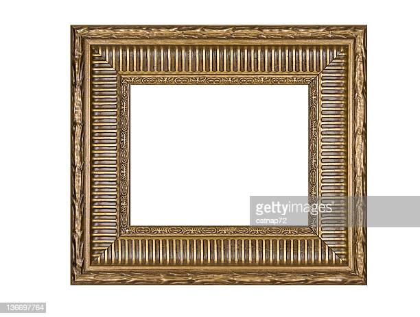 Picture Frame in Gold with Ribbed Surface, White Isolated