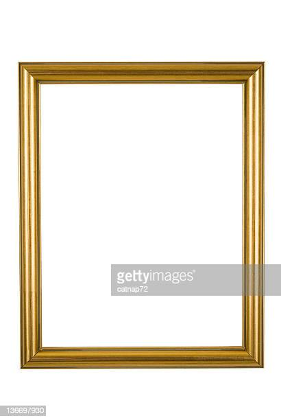 Picture Frame in Narrow Shiny Gold, Isolated
