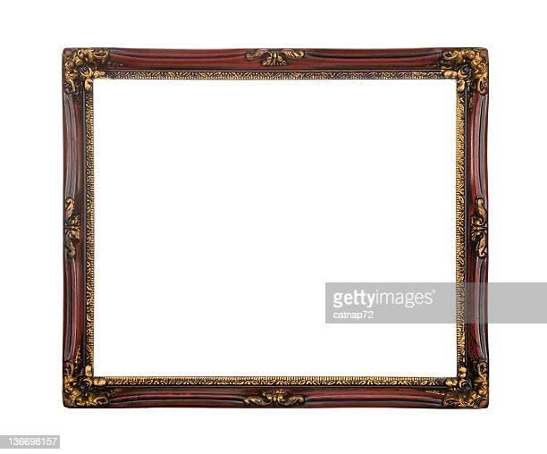 Marco de imagen en rojo y oro aislado, blanco