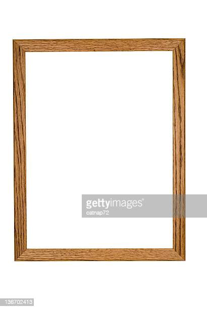 Picture Frame in Rustic Oak, Hand Made, White Isolated