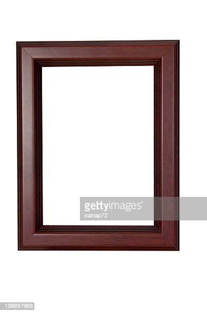 Picture Frame in Smooth Red Brown, White Isolated