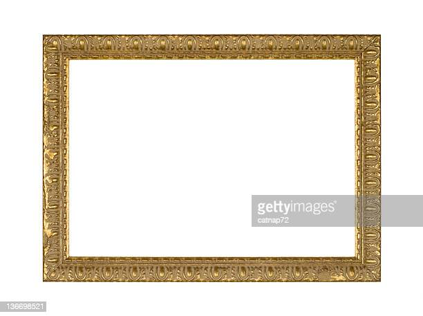 Picture Frame Narrow Fancy Gold, White Isolated