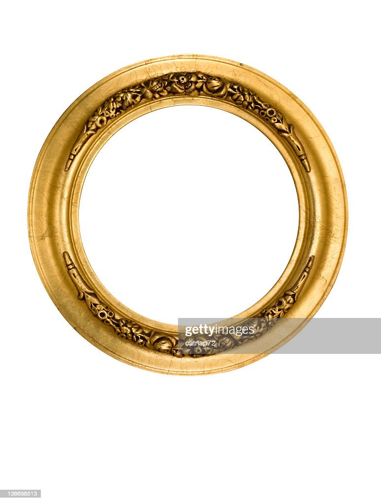 Picture Frame Round Circle in Gold, Fancy, Elegant, White Isolated : Stock Photo