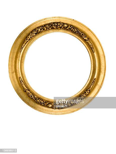 picture frame round circle in gold, fancy, elegant, white isolated - oval shaped objects stock pictures, royalty-free photos & images