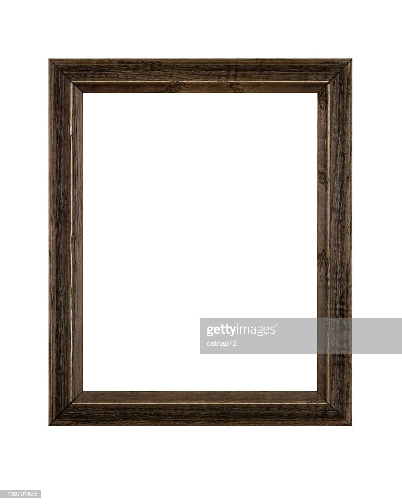 Picture Frame Rustic Brown in Rough Wood, White Isolated : Stock Photo