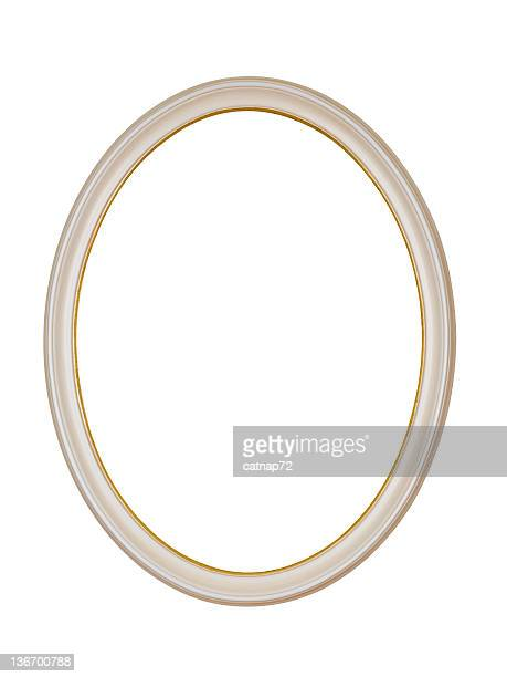 Picture Frame White Oval Circle, Isolated Design Element
