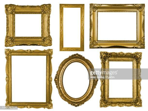 picture frames against white background - picture frame stock pictures, royalty-free photos & images