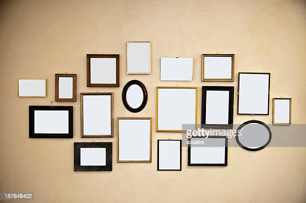 picture frames on vintage wall painting
