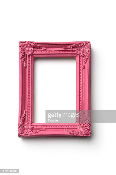 picture frames: pink frame - baroque stock pictures, royalty-free photos & images