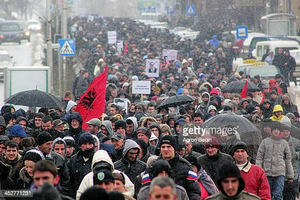 Picture from 26 January 2013 Ethnic Albanians are protesting in Kosovo's capital to show support for their ethnic kin in Serbia's tense southern...