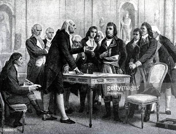 A picture from a painting of Italian inventor Count Alessandro Volta presenting his Pile to Napoleon Bonaparte the First Consul