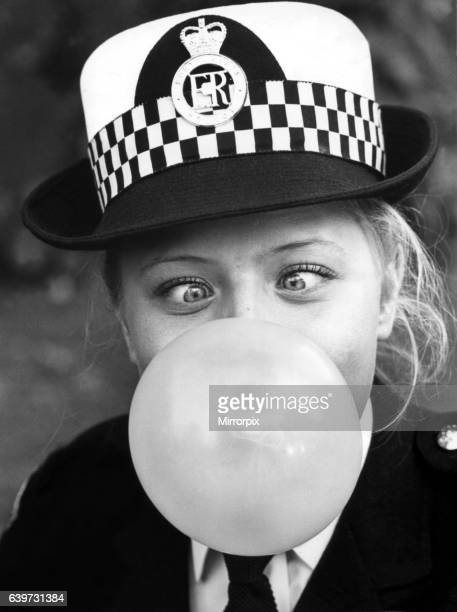 A picture from a series of humurous novelty images taken by Sunday People photographer Dennis Hutchinson Special constable Elaine Balbach went to...