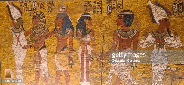 picture in interior of king tutankhamun's tomb and wall paintings in tomb of tutankhamun, egypt culture heroglife. - sarcophagus stock pictures, royalty-free photos & images